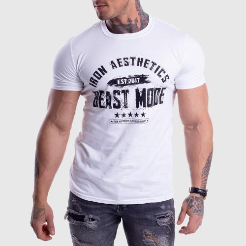 Pánske fitness tričko Iron Aesthetics Beast Mode Est. 2017, biele