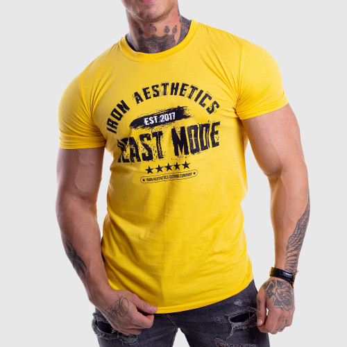 Pánske fitness tričko Iron Aesthetics Beast Mode Est. 2017, gold