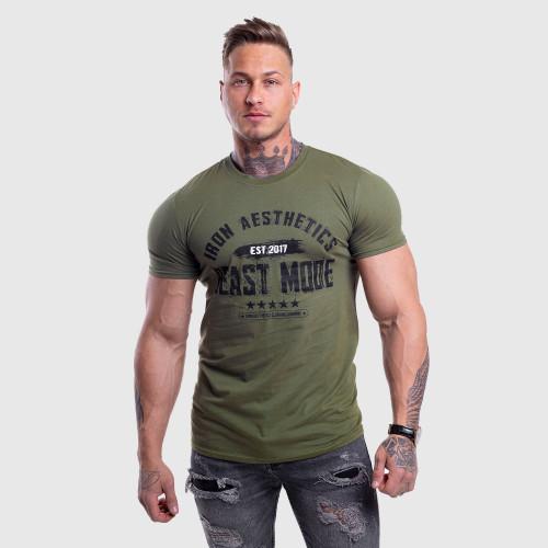 Pánske fitness tričko Iron Aesthetics Beast Mode Est. 2017, vojenská zelená