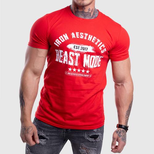Pánske fitness tričko Iron Aesthetics Beast Mode Est. 2017, červené
