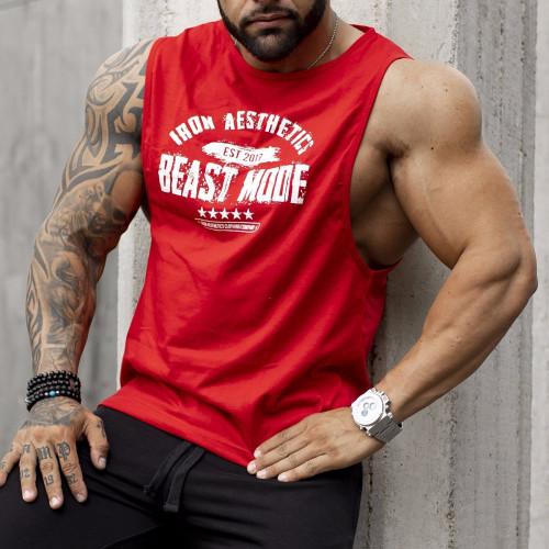 Pánske fitness TIELKO Iron Aesthetics Beast Mode Est. 2017, červené