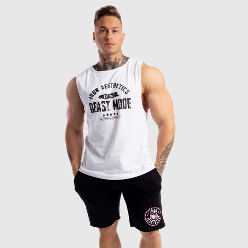 Pánske fitness TIELKO Iron Aesthetics Beast Mode Est. 2017, biele
