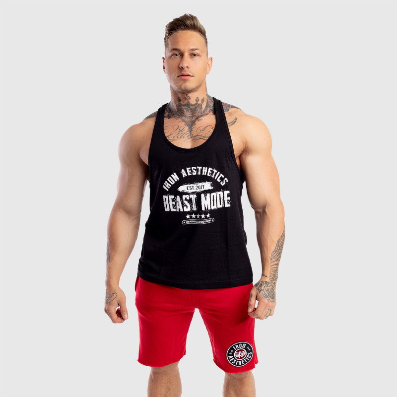 Pánske fitness TIELKO Racerback Iron Aesthetics Beast Mode Est. 2017, čierne-5