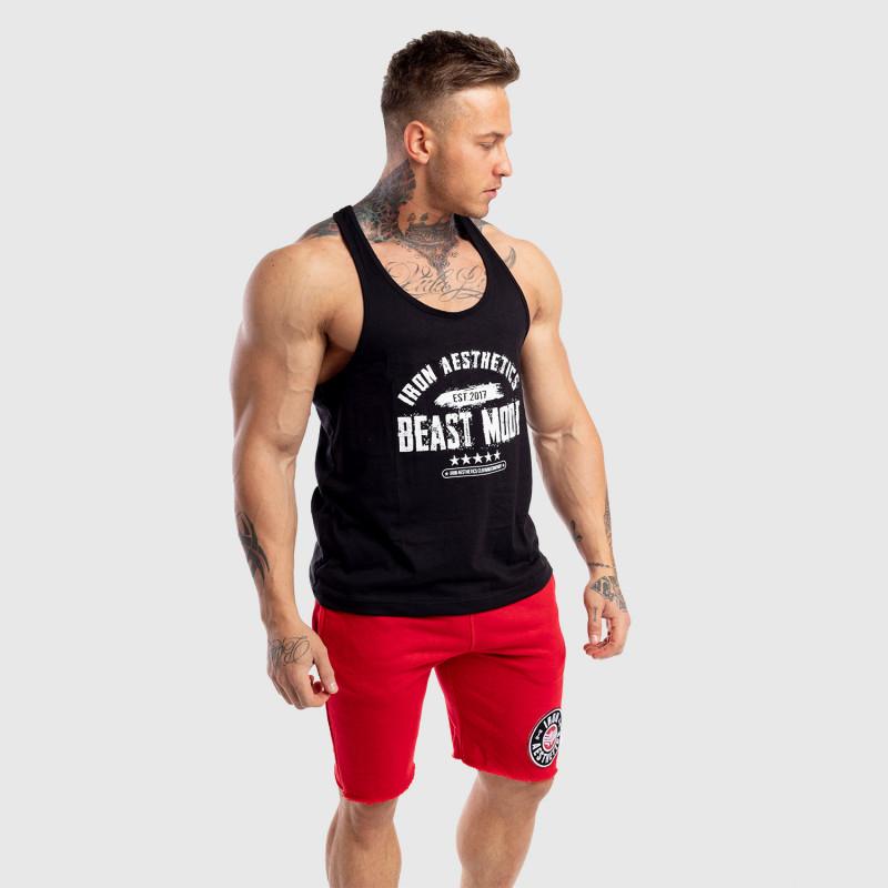 Pánske fitness TIELKO Racerback Iron Aesthetics Beast Mode Est. 2017, čierne-6