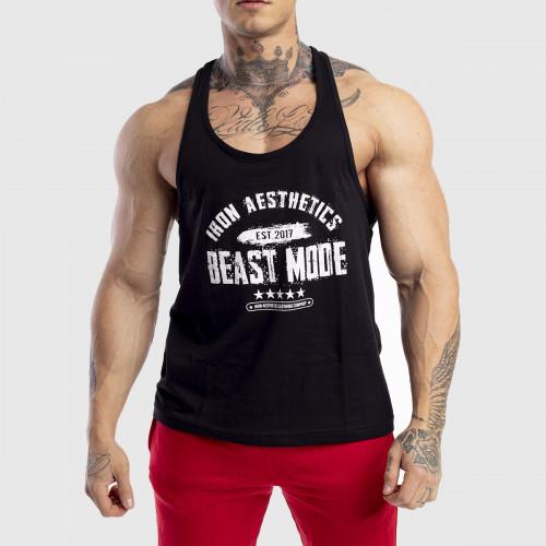 Pánske fitness TIELKO Racerback Iron Aesthetics Beast Mode Est. 2017, čierne