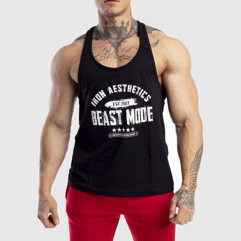 Pánske fitness TIELKO Racerback Iron Aesthetics Beast Mode Est. 2017, čierne-1