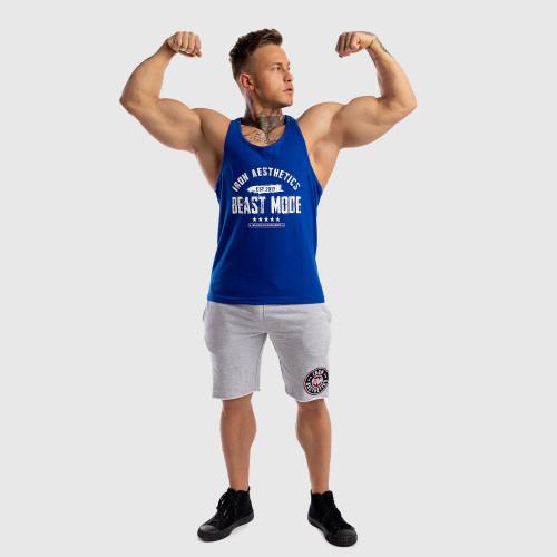 Pánske fitness TIELKO Racerback Iron Aesthetics Beast Mode Est. 2017, modré