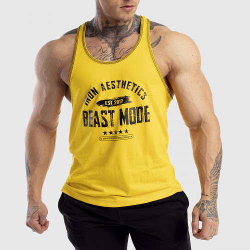 Pánske fitness TIELKO Racerback Iron Aesthetics Beast Mode Est. 2017, gold