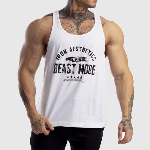 Pánske fitness TIELKO Racerback Iron Aesthetics Beast Mode Est. 2017, biele