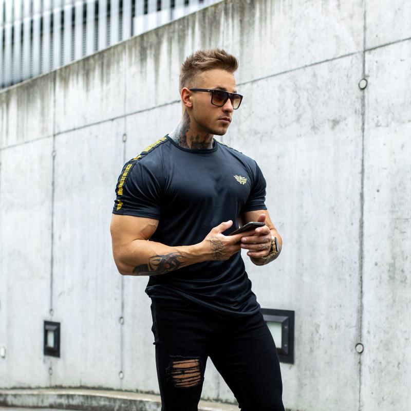 Pánske tričko Iron Aesthetics STRIPES, čierno-zlaté-5