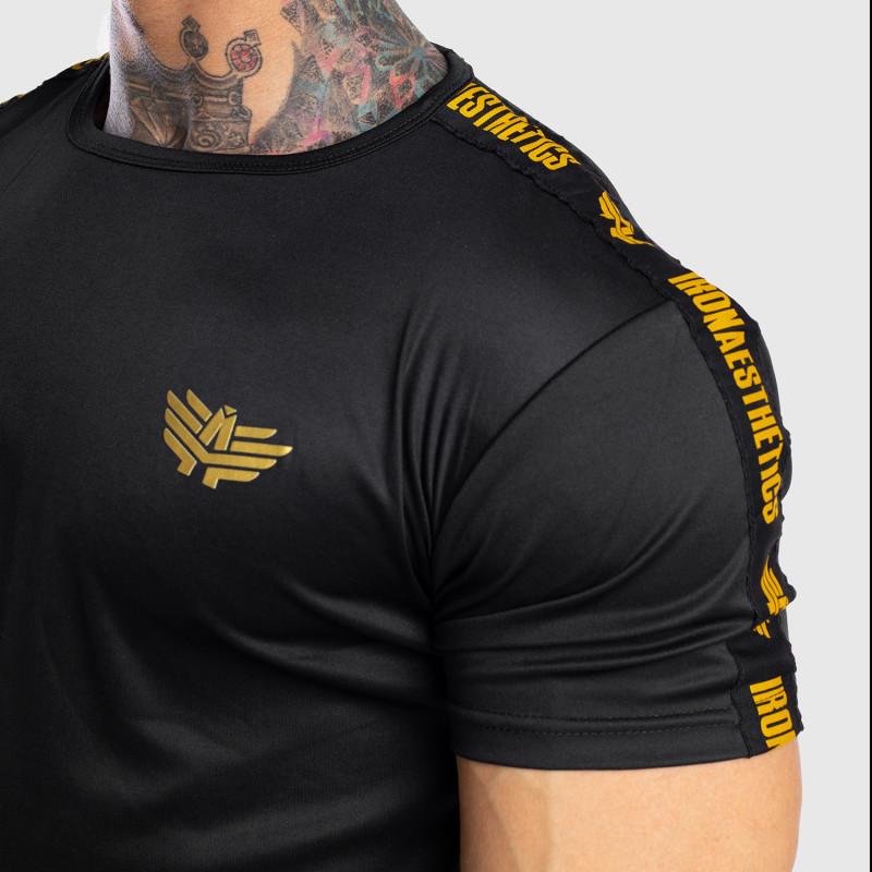 Pánske tričko Iron Aesthetics STRIPES, čierno-zlaté-8