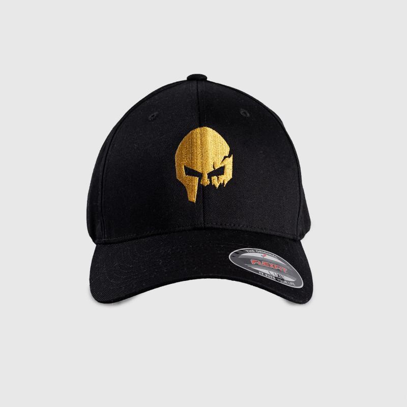 Pánska šiltovka Iron Aesthetics FlexFit SKULL GOLD, čierna-1