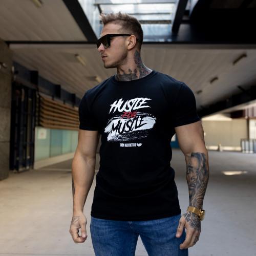 Pánske fitness tričko Iron Aesthetics HUSTLE FOR MUSCLE, čierne