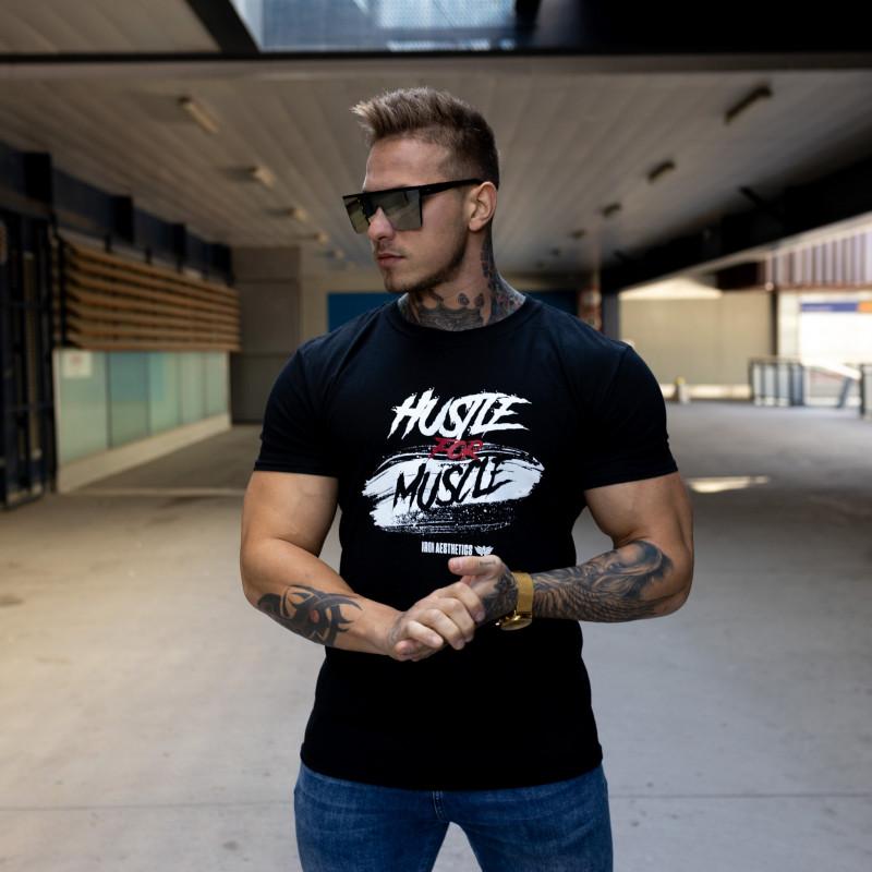 Levně Pánské fitness tričko Iron Aesthetics HUSTLE FOR MUSCLE, černé