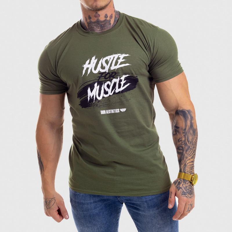 Levně Pánské fitness tričko Iron Aesthetics HUSTLE FOR MUSCLE, zelené
