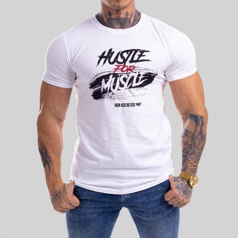 Levně Pánské fitness tričko Iron Aesthetics HUSTLE FOR MUSCLE, bílé