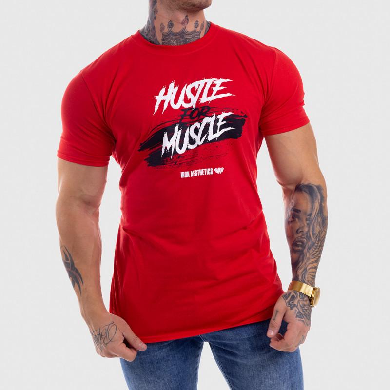 Levně Pánské fitness tričko Iron Aesthetics HUSTLE FOR MUSCLE, červené