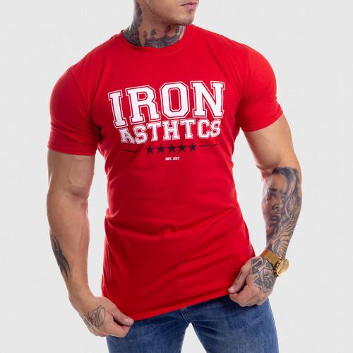 Pánske fitness tričko Iron Aesthetics VARSITY, červené