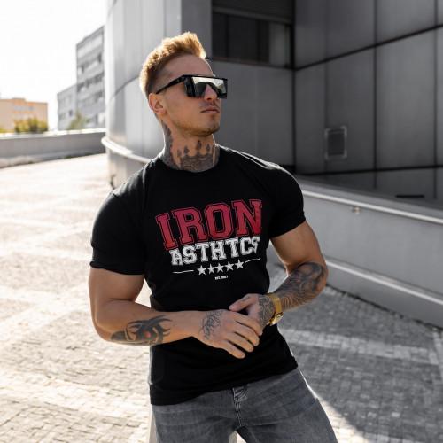 Pánske fitness tričko Iron Aesthetics VARSITY, čierne