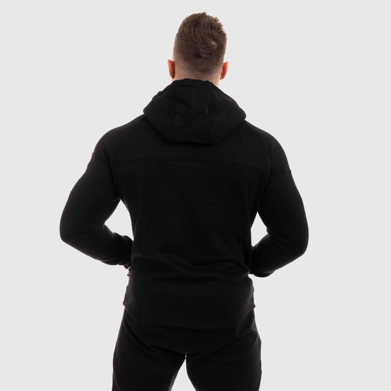 Fitness mikina so zipsom Iron Aesthetics ROUND, čierna-7
