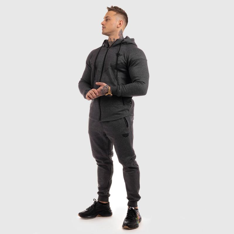 Fitness mikina so zipsom Iron Aesthetics ROUND, sivá-4