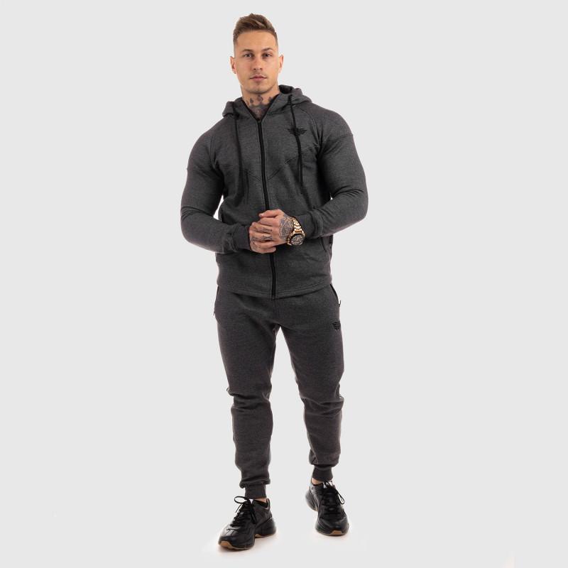 Fitness mikina so zipsom Iron Aesthetics ROUND, sivá-5
