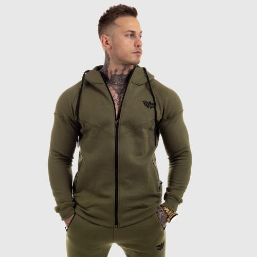 Fitness mikina so zipsom Iron Aesthetics ROUND, zelená