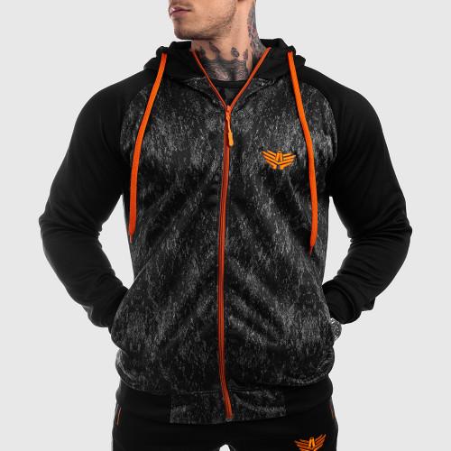 Fitness mikina so zipsom Iron Aesthetics SLEEVE, Camo Orange