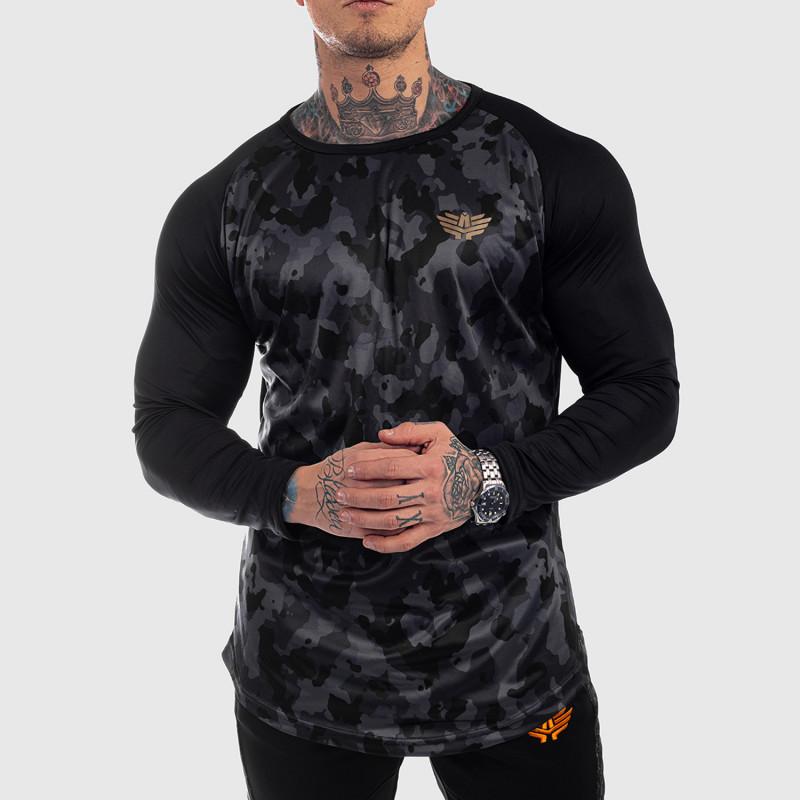 Funkčné tričko s dlhým rukávom Iron Aesthetics, čierny maskáč-1