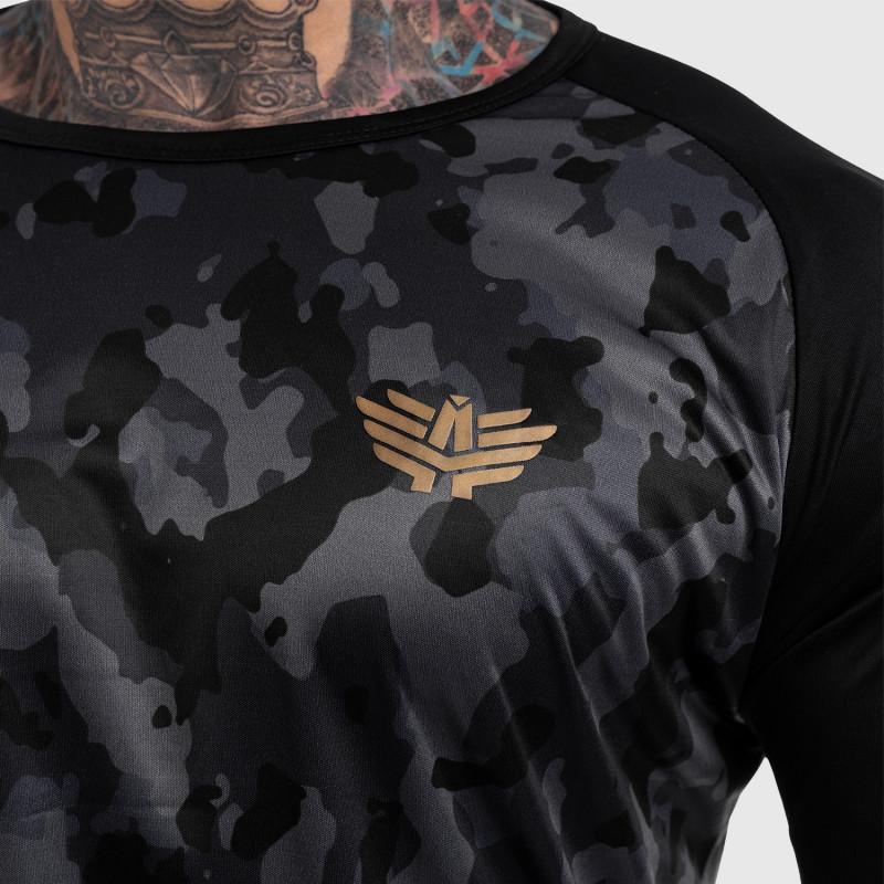 Funkčné tričko s dlhým rukávom Iron Aesthetics, čierny maskáč-2