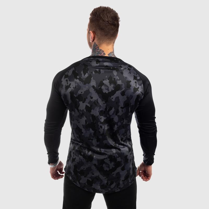 Funkčné tričko s dlhým rukávom Iron Aesthetics, čierny maskáč-3