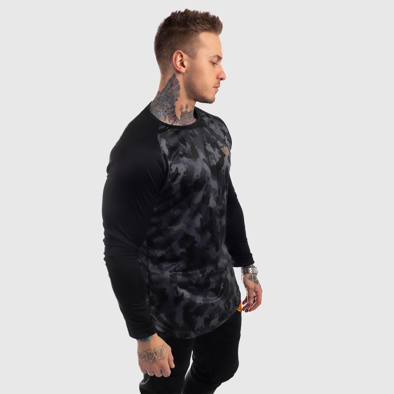 Funkčné tričko s dlhým rukávom Iron Aesthetics, čierny maskáč-4