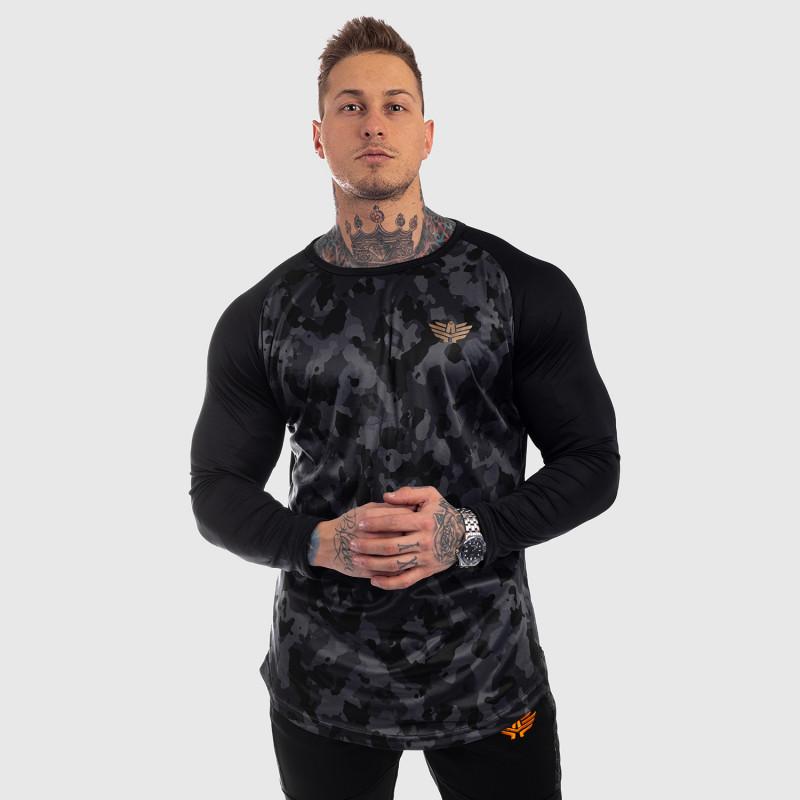 Funkčné tričko s dlhým rukávom Iron Aesthetics, čierny maskáč-5