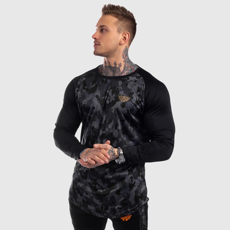 Funkčné tričko s dlhým rukávom Iron Aesthetics, čierny maskáč-6