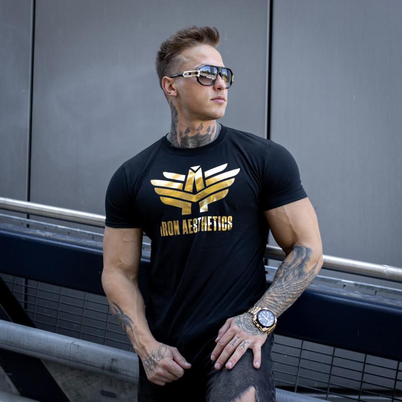 Fitness tričko Iron Aesthetics, black&gold-3