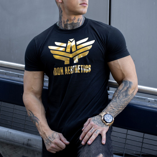 Fitness tričko Iron Aesthetics, black&gold