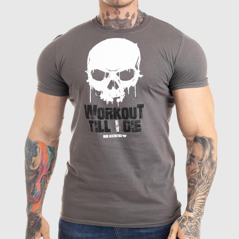 Ultrasoft tričko Workout Till I Die, sivé-1