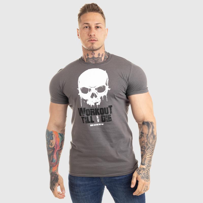 Ultrasoft tričko Workout Till I Die, sivé-3