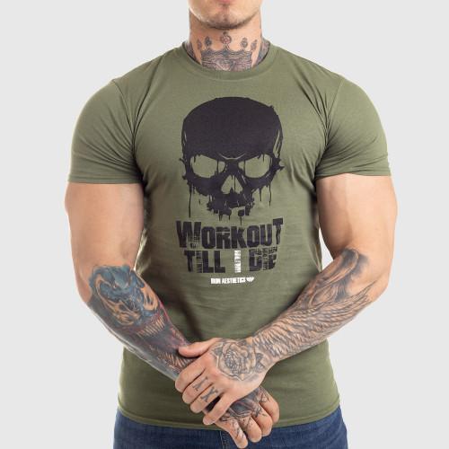 Ultrasoft tričko Workout Till I Die, zelené
