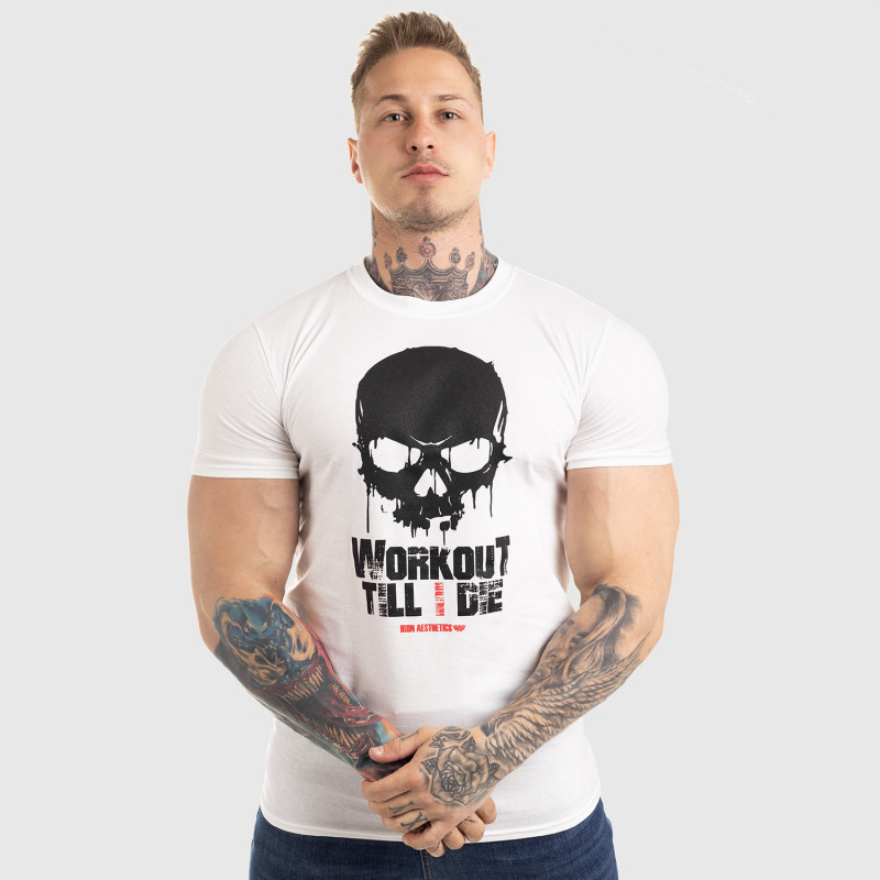 Ultrasoft tričko Workout Till I Die, biele-8