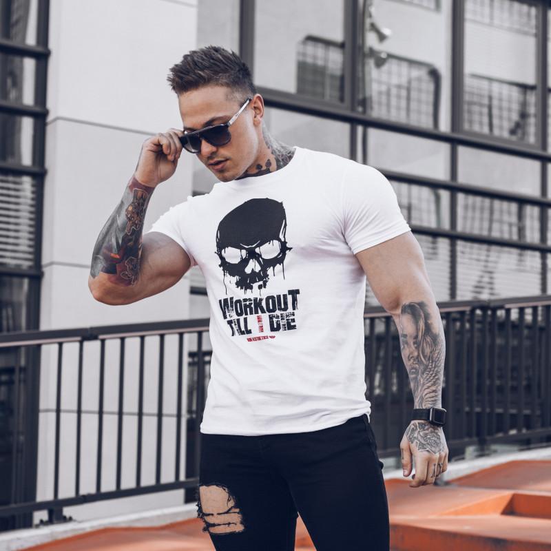 Ultrasoft tričko Workout Till I Die, biele-2