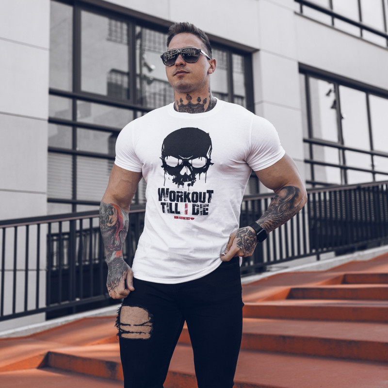 Ultrasoft tričko Workout Till I Die, biele-4
