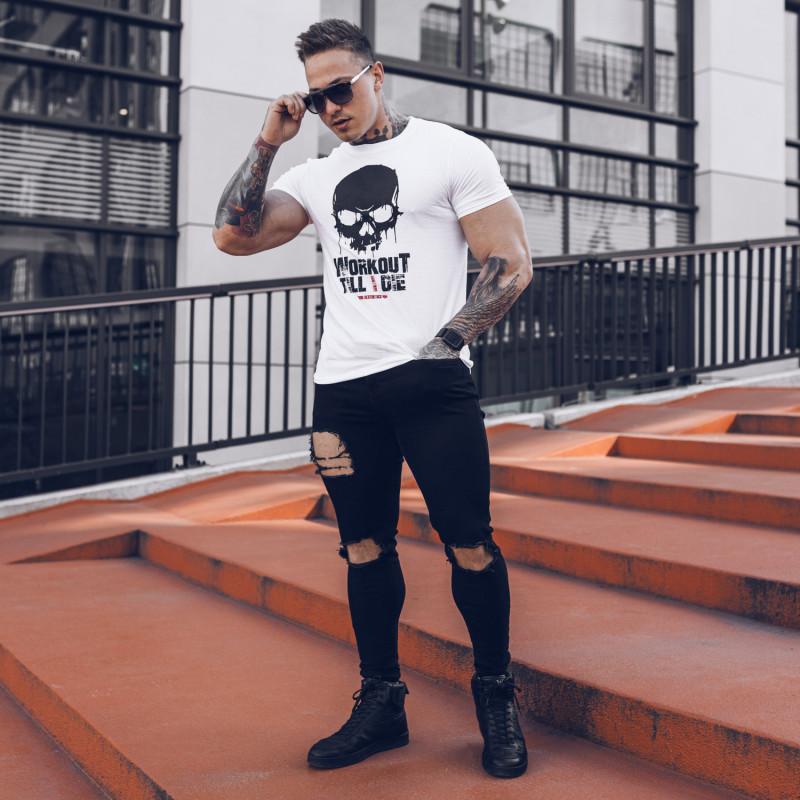 Ultrasoft tričko Workout Till I Die, biele-5