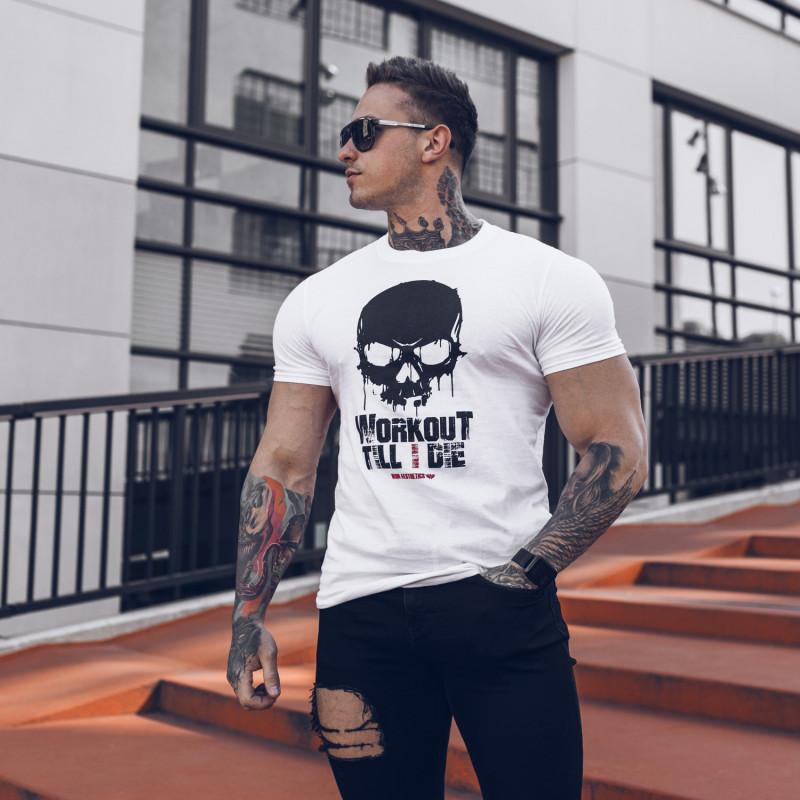 Ultrasoft tričko Workout Till I Die, biele-7