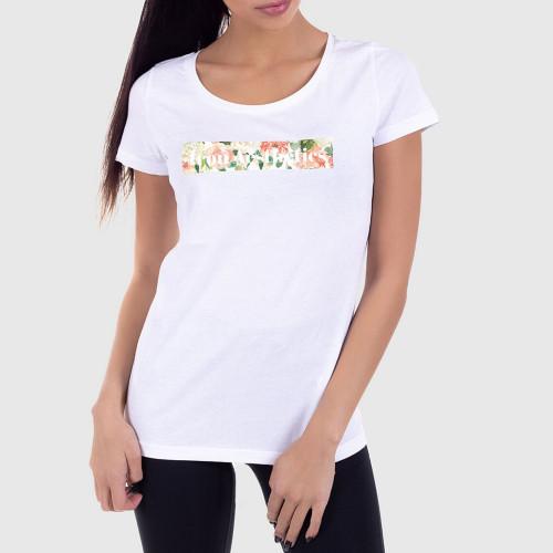 Dámske fitness tričko Iron Aesthetics Light Flowers, biele