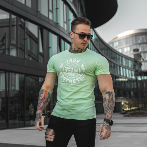 Pánske fitness tričko Iron Aesthetics Circle Star, mentolová zelená