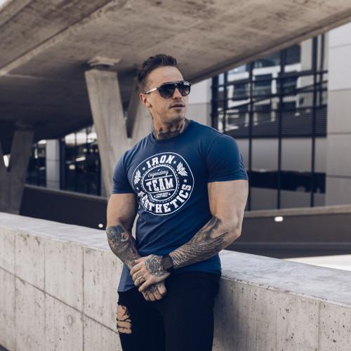 Pánske fitness tričko Iron Aesthetics Circle Star, modré
