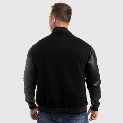 Pánska bunda Iron Aesthetics Varsity Leather, čierna
