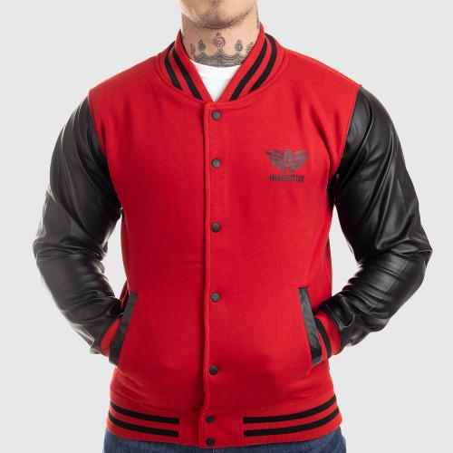 Pánska bunda Iron Aesthetics Varsity Leather, červená