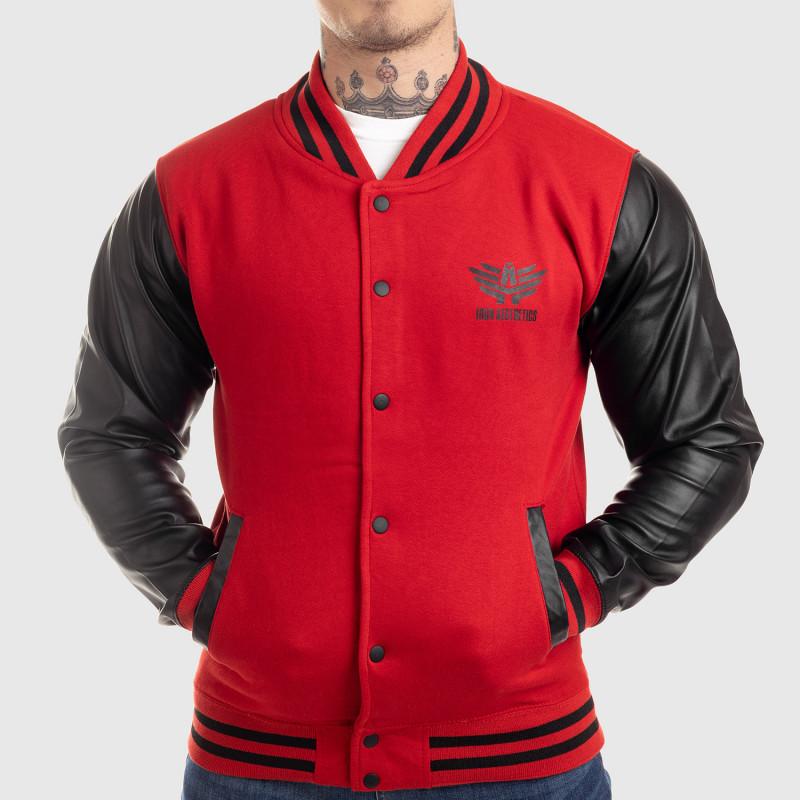 Pánska bunda Iron Aesthetics Varsity Leather, červená-1